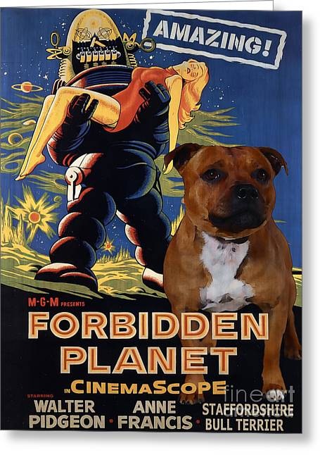 Staffordshire Bull Terrier Greeting Cards - Staffordshire Bull Terrier Art Canvas Print - Forbidden Planet Movie Poster Greeting Card by Sandra Sij