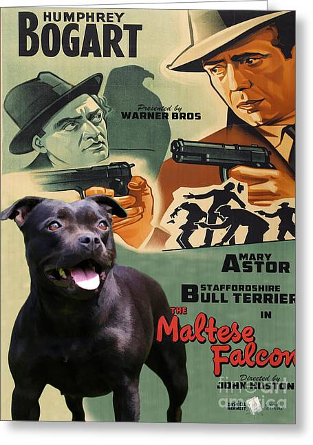 Maltese Greeting Cards - Staffordshire Bull Terrier Art Canvas Print - The Maltese Falcon Movie Poster Greeting Card by Sandra Sij