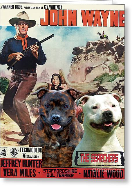 Staffordshire Bull Terrier Greeting Cards - Staffordshire Bull Terrier Art Canvas Print - The Searchers Movie Poster Greeting Card by Sandra Sij