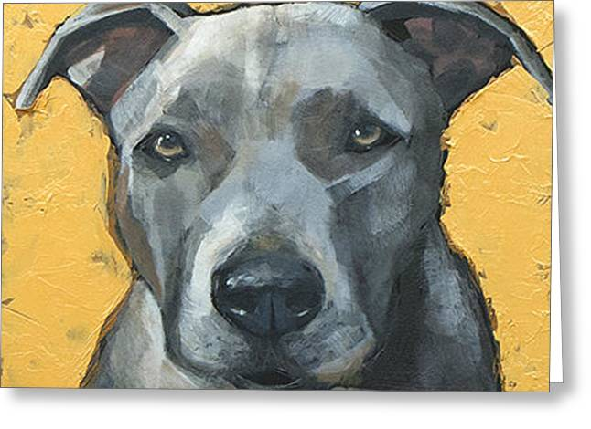 Staffordshire Bull Terrier Greeting Cards - Staffordshire Bull Terrier Greeting Card by Mary Medrano