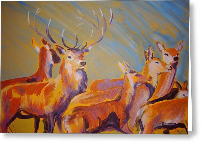 Loose Drawings Greeting Cards - Stag and Deer Painting Greeting Card by Mike Jory