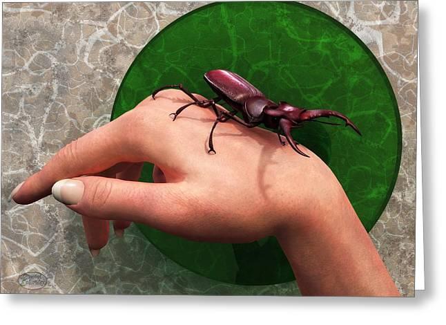 Stag Beetle On Hand Greeting Card by Daniel Eskridge