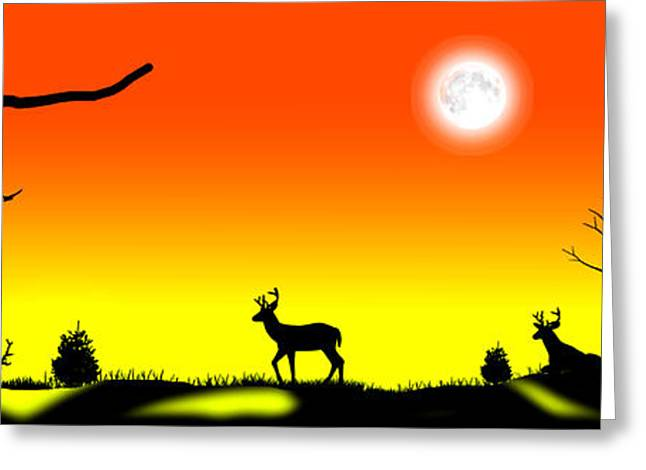 Moonglow Greeting Cards - Stag Night Greeting Card by Peter Stevenson