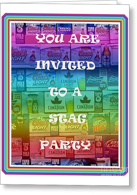 Party Invite Greeting Cards - Stag Party Invitation Greeting Card by Barbara Griffin