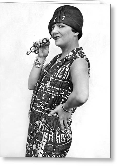Cigarette Holder Greeting Cards - Stage Actress Irene Bordini Greeting Card by Underwood Archives