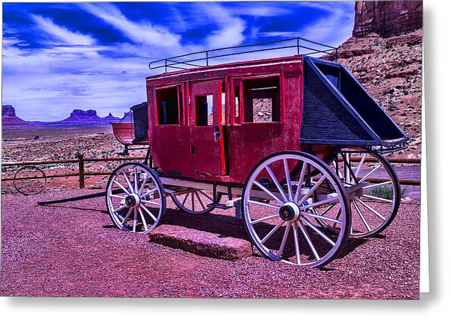 Stagecoach Greeting Cards - Stage Coach Monument Valley Greeting Card by Garry Gay