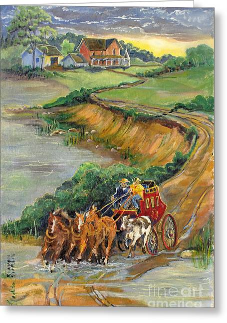 Indiana Rivers Paintings Greeting Cards - Stage Coach Stop Greeting Card by Gedda Runyon Starlin