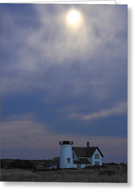 Chatham Greeting Cards - Stage Harbor Lighthouse and Hazy Full Moon Cape Cod Greeting Card by John Burk