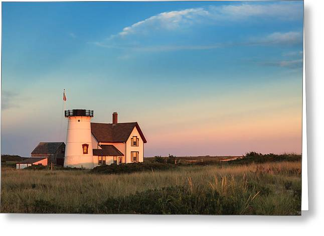 Stage Harbor Lighthouse Greeting Card by Bill  Wakeley