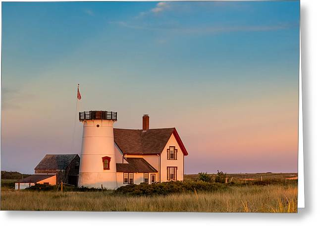 Stage Harbor Lighthouse Square Greeting Card by Bill Wakeley