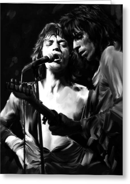 Mick Jagger And Keith Richards Greeting Cards - Stage Life Mick Jagger and Keith Richards Greeting Card by Iconic Images Art Gallery David Pucciarelli