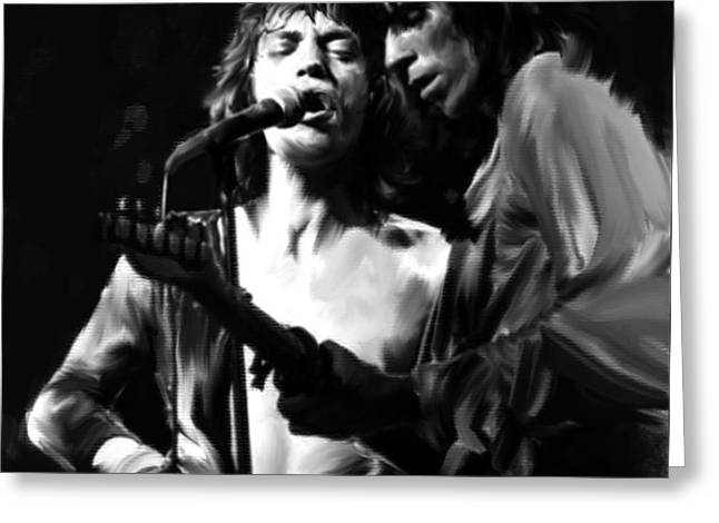 The Glimmer Twins Jagger And Richards Greeting Cards - Stage Life Mick II Mick Jagger and Keith Richards Greeting Card by Iconic Images Art Gallery David Pucciarelli