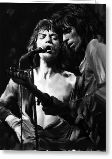 Stones Greeting Cards - Stage Life Mick Jagger Keith Richards Greeting Card by Iconic Images Art Gallery David Pucciarelli