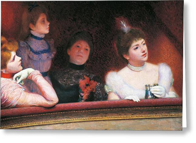 Night Out Paintings Greeting Cards - Stage or Au Theatre Greeting Card by Federico Zandomeneghi