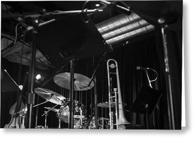 Microphone Stand Greeting Cards - Stage - Ready to Go Greeting Card by Photographic Arts And Design Studio
