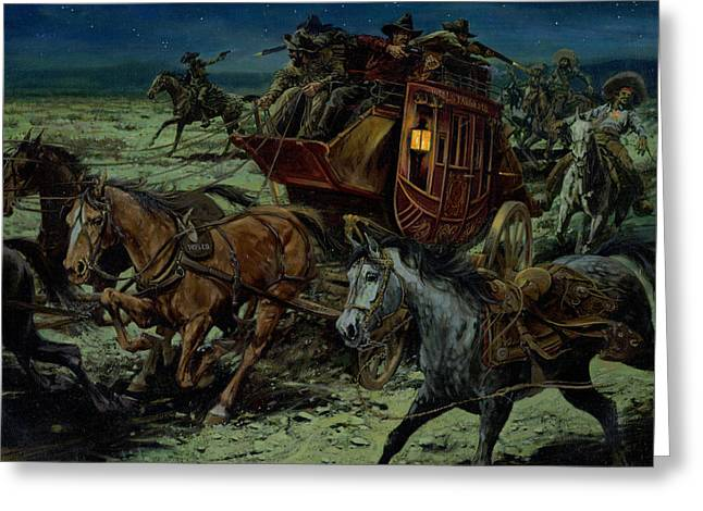 Robber Greeting Cards - Stagecoach Attack Greeting Card by Don  Langeneckert