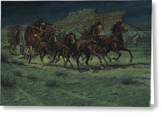 Stagecoach Greeting Cards - Stagecoach Six Horse Hold Up Greeting Card by Don  Langeneckert