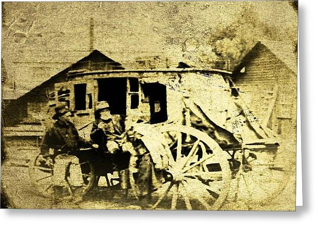 Old Western Photos Digital Art Greeting Cards - Stagecoach tintype Greeting Card by Larry Lamb
