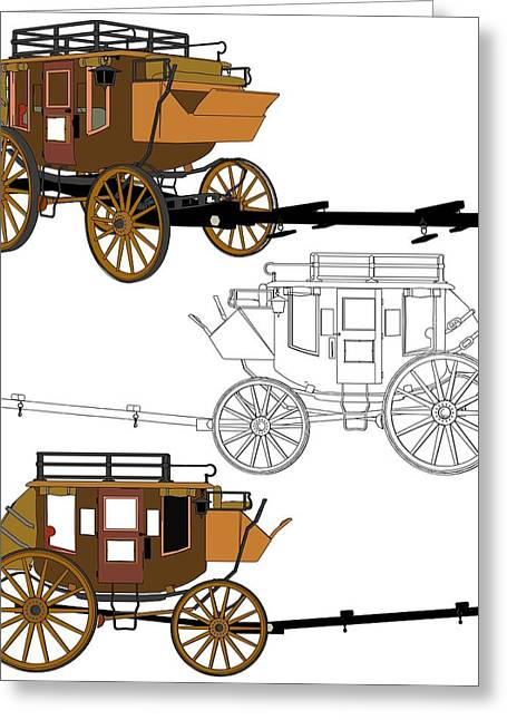 Wooden Wagons Mixed Media Greeting Cards - Stagecoach Without Horses - Color Sketch Drawing Greeting Card by Nenad  Cerovic