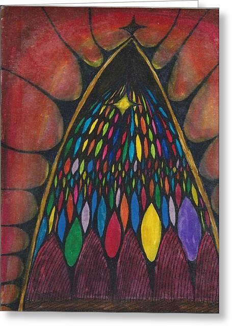 Cim Paddock Greeting Cards - Stain glass window drawing Greeting Card by Cim Paddock