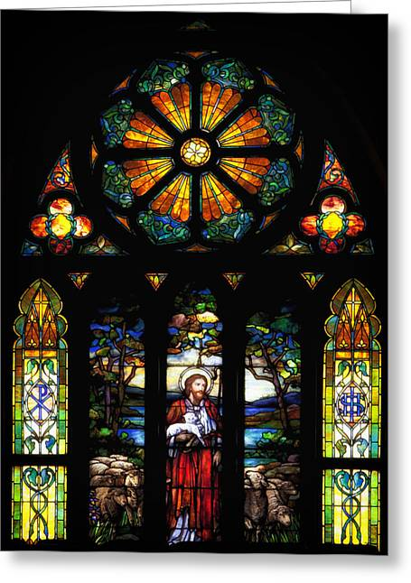 Jesus Glass Art Greeting Cards - Stained Church Glass - Selma Alabama Greeting Card by Mountain Dreams