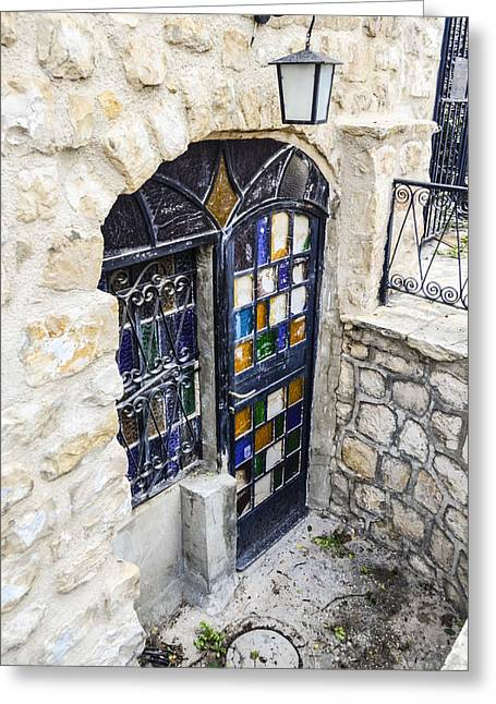 Birthright Greeting Cards - Stained Front Door Greeting Card by Alan Marlowe