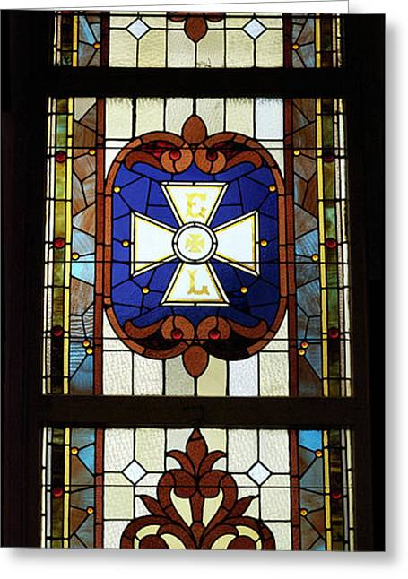 Colorful Photos Glass Art Greeting Cards - Stained Glass 3 Panel Vertical Composite 01 Greeting Card by Thomas Woolworth