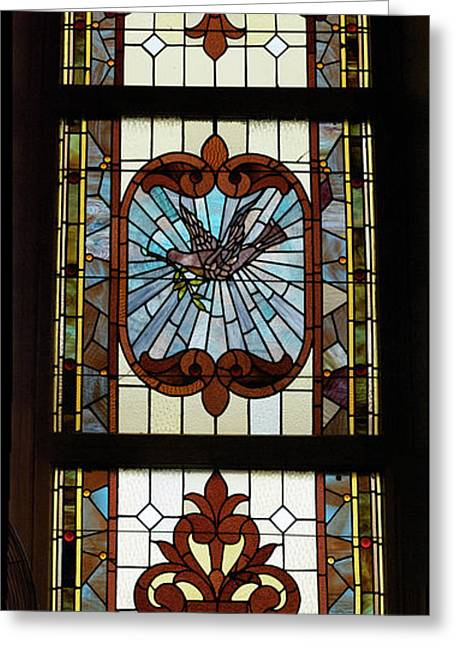 Colorful Photos Glass Art Greeting Cards - Stained Glass 3 Panel Vertical Composite 03 Greeting Card by Thomas Woolworth