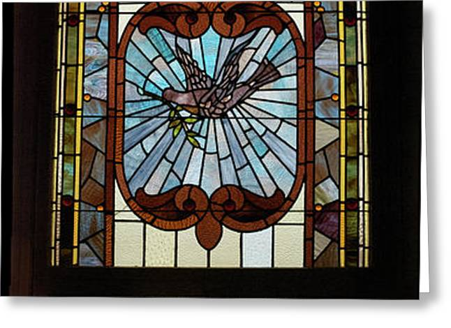 Stained Glass 3 Panel Vertical Composite 03 Greeting Card by Thomas Woolworth