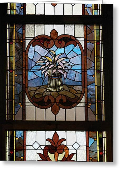 Colorful Photos Glass Art Greeting Cards - Stained Glass 3 Panel Vertical Composite 04 Greeting Card by Thomas Woolworth