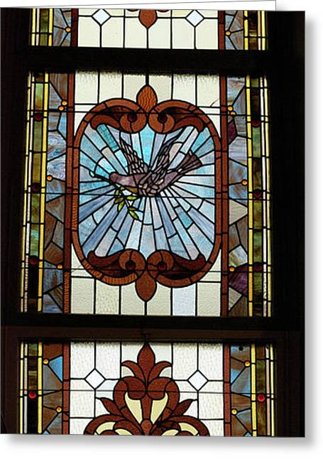 Colorful Photos Glass Art Greeting Cards - Stained Glass 3 Panel Vertical Composite 05 Greeting Card by Thomas Woolworth