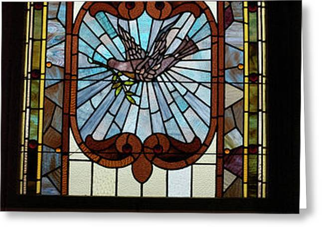 Stained Glass 3 Panel Vertical Composite 05 Greeting Card by Thomas Woolworth
