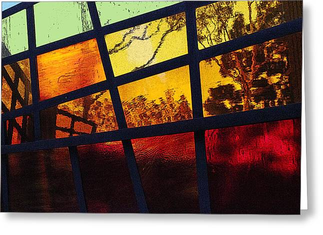 Glass Wall Greeting Cards - Stained Glass Abstract Greeting Card by Richard Stephen