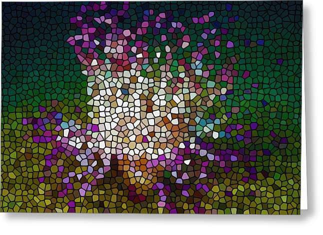 Granulatus Greeting Cards - Stained Glass Anemone 2 Greeting Card by Lanjee Chee