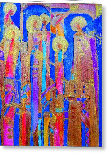 Religious Mosaic Mixed Media Greeting Cards - Stained Glass Angels Greeting Card by Elise Ritter