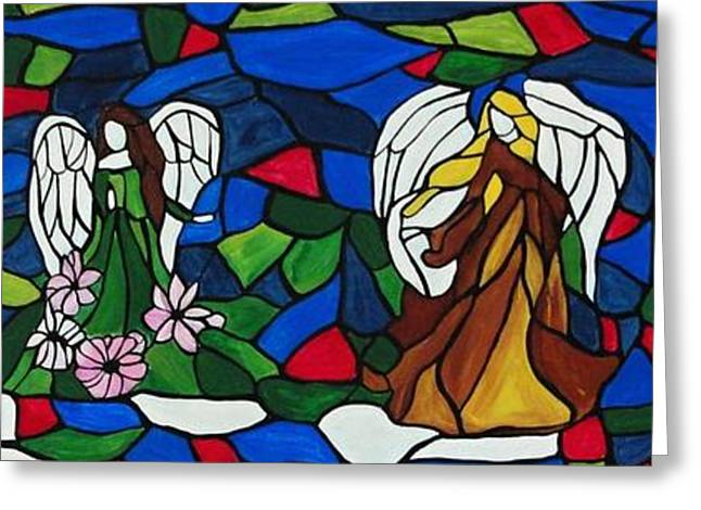 Glass Wall Greeting Cards - Stained glass Angels Greeting Card by Rachel  Olynuk