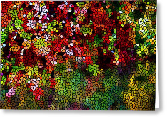 Glass Reflecting Paintings Greeting Cards - Stained Glass Autumn leaves reflecting in water Greeting Card by Lanjee Chee
