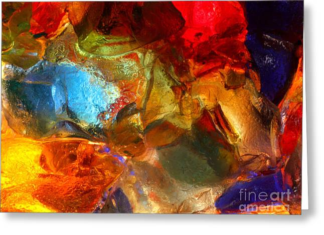 Shiny Glass Art Greeting Cards - Stained glass closeup Greeting Card by Kerstin Ivarsson