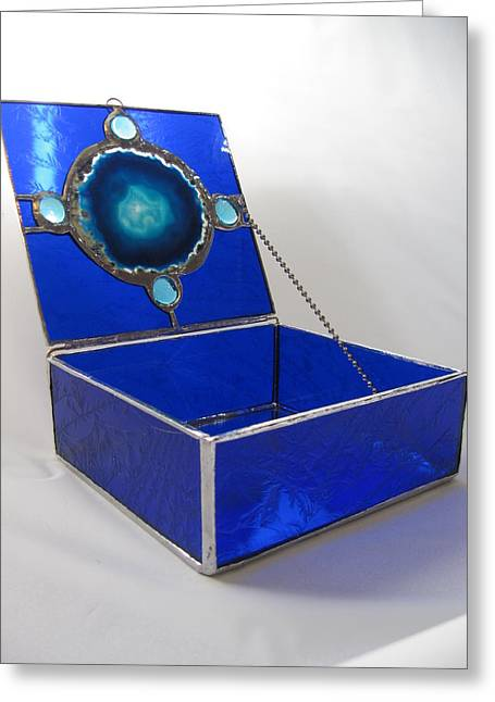 Jewelry Glass Art Greeting Cards - Stained Glass Cobalt Blue Agate and Glass Cabochon Lid Jewelry Keepsake Box  Greeting Card by Wendy Wehe-Ballone