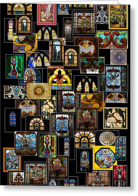 Coller Greeting Cards - Stained Glass Collage Greeting Card by Thomas Woolworth
