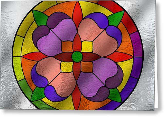 Color Wheel Greeting Cards - Stained Glass - Color Wheel Flower Greeting Card by Chuck Staley