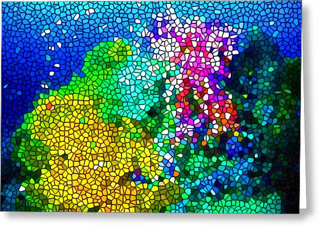 Stained Glass Coral Reef Greeting Card by Lanjee Chee