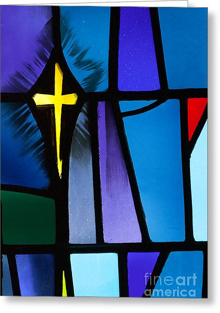 Living With Joy Greeting Cards - Stained Glass Cross Greeting Card by Karen Lee Ensley
