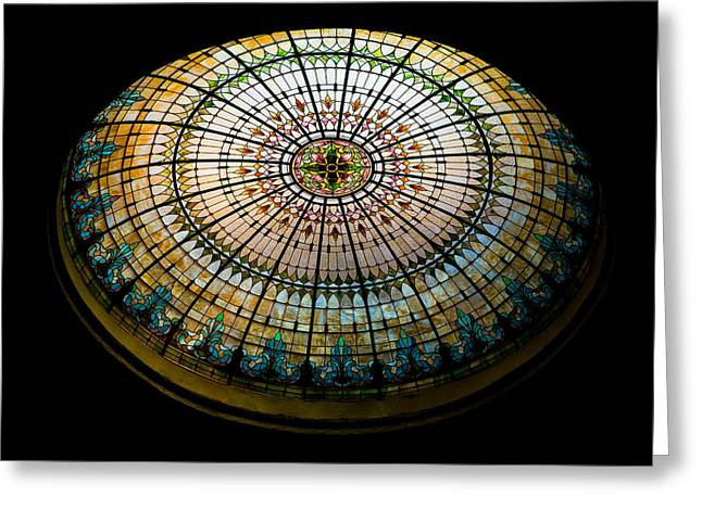 Illuminate Greeting Cards - Stained Glass Dome - 1 Greeting Card by Stephen Stookey