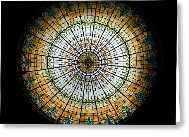 Turquoise Stained Glass Greeting Cards - Stained Glass Dome - 2 Greeting Card by Stephen Stookey