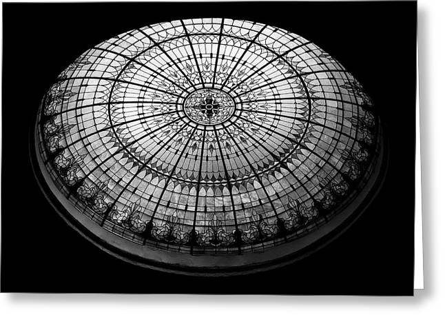 Turquoise Stained Glass Greeting Cards - Stained Glass Dome - BW Greeting Card by Stephen Stookey