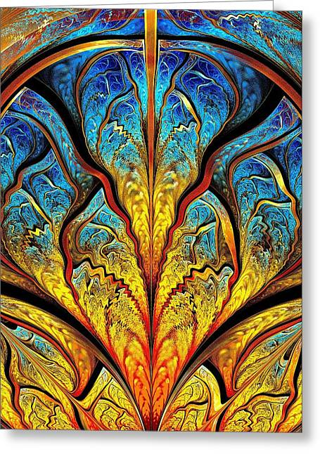 Shiny Mixed Media Greeting Cards - Stained Glass Expression Greeting Card by Anastasiya Malakhova