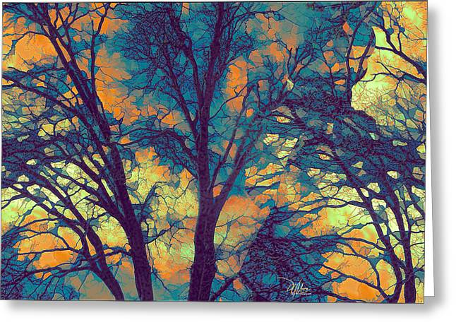 Turquoise Stained Glass Greeting Cards - Stained Glass Forest No. 6 Greeting Card by Douglas MooreZart
