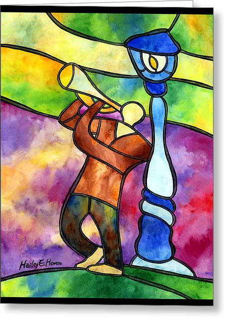 Glass Wall Paintings Greeting Cards - Stained Glass Jazzman Greeting Card by Hailey E Herrera