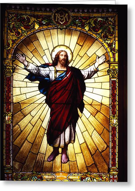 Art Glass Glass Art Greeting Cards - Stained Glass Jesus Greeting Card by Mountain Dreams